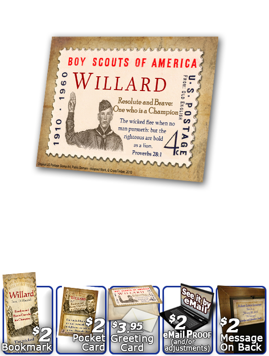 PL-CA02, Name Meaning Print,  Framed, Bible Verse willard  boy scouts stamp collecting