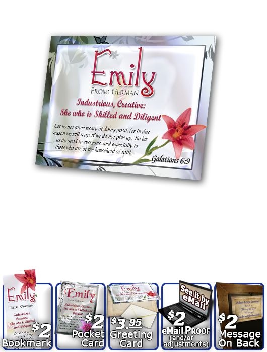 PL-FL09, Name Meaning Print,  Framed, Bible Verse, personalized, flower, emily pink lily