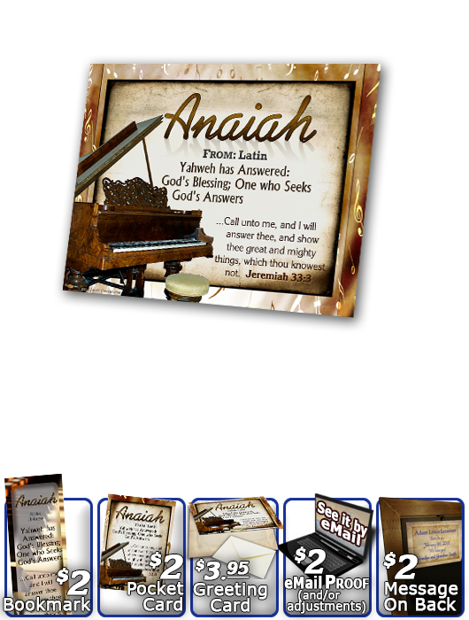 PL-MU01, Name Meaning Print,  Framed, Bible Verse, personalized, piano music notes anaiah
