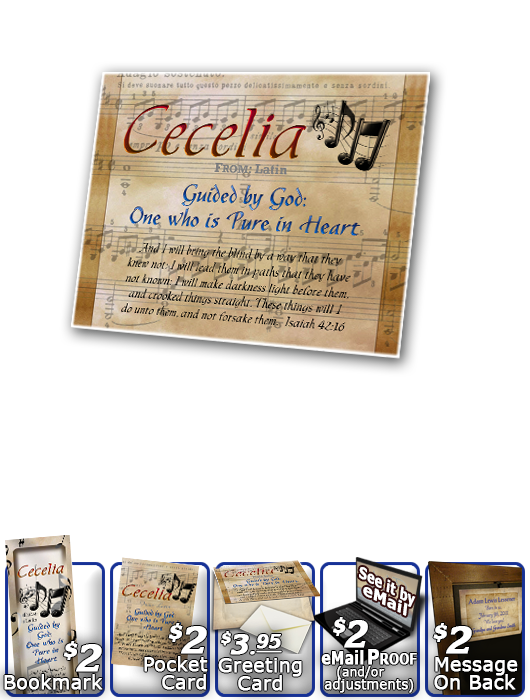 PL-MU11, Name Meaning Print,  Framed, Bible Verse, personalized, music notes cecelia