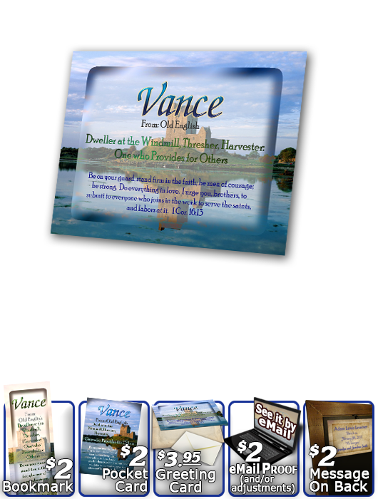 PL-SC34, Name Meaning Print,  Framed, Bible Verse, personalized, vance castle lake moat