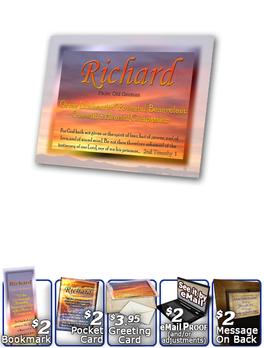 PL-SS18, Name Meaning Print,  Framed, Bible Verse, personalized, richard, sunset, simple