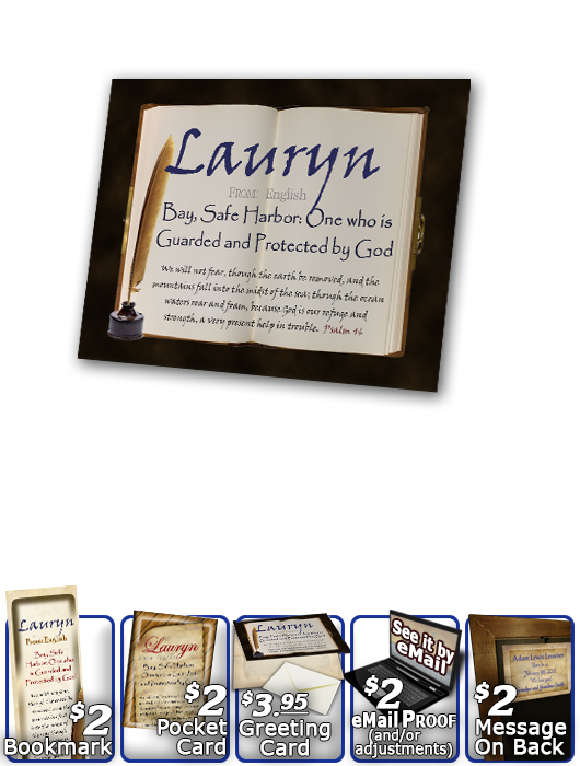 PL-SY44, Name Meaning Print,  Framed, Bible Verse, personalized, Lauryn book quill journal
