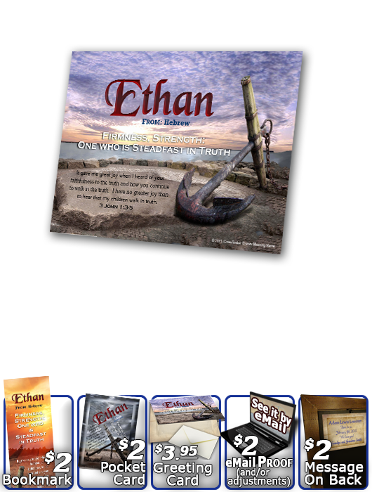 PL-SY60, Name Meaning Print,  Framed, Bible Verse, personalized, ethan anchor sunset