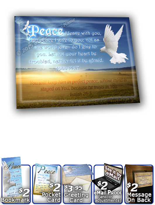 SG-8x10-AN14, Large 10x12 Plaque with Custom Bible Verse  dove peace, John 14:27, Isaiah 26:3