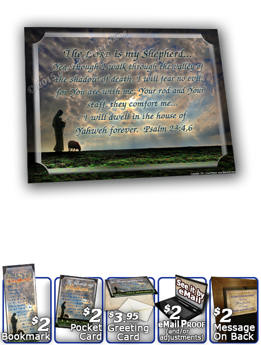SG-8x10-AN34, Large 10x12 Plaque with Custom Bible Verse memorial remembrance  shepherd sheep lamb, Psalm 32:4,6
