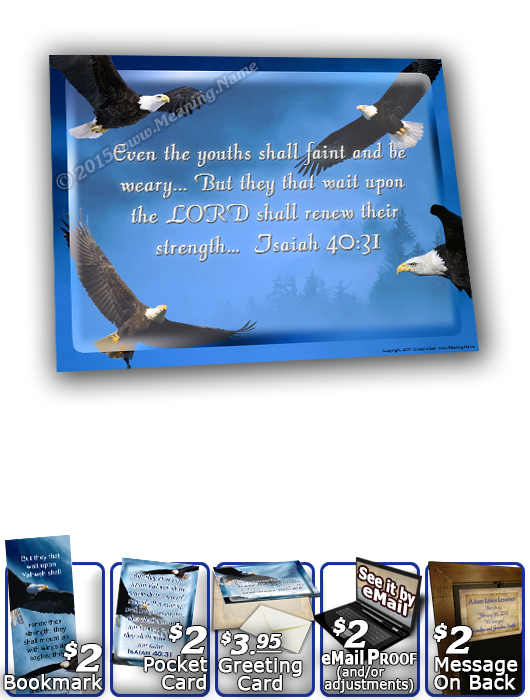 SG-8x10-AN38, Large 10x12 Plaque with Custom Bible Verse  bald eagle bird, Isaiah 40:31, wings as eagles.