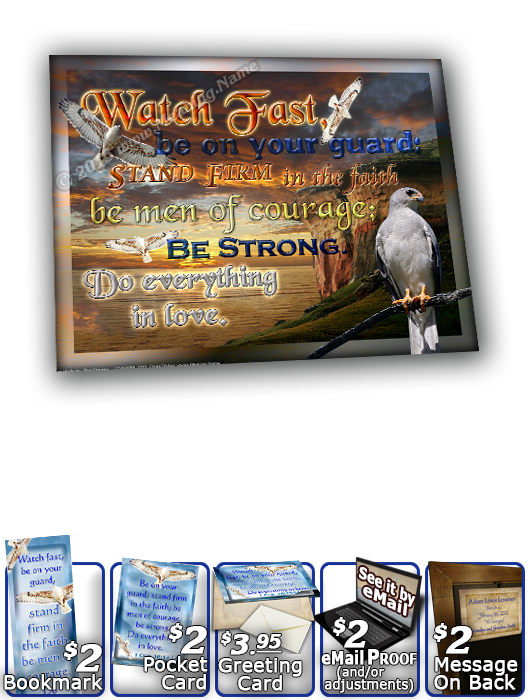 SG-8x10-AN52, Large 10x12 Plaque with Custom Bible Verse  white hawk  bird, 1 Corinthians 16:13-14
