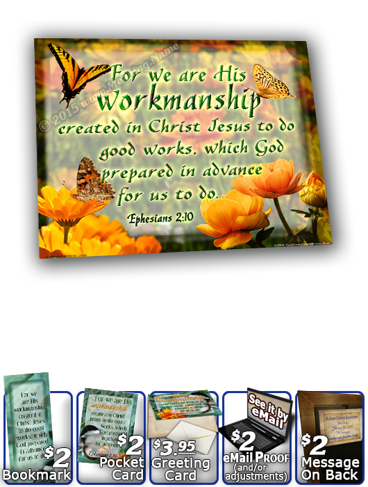 SG-8x10-BF13, Large 10x12 Plaque with Custom Bible Verse butterfly  green garden, Ephesians 2:10