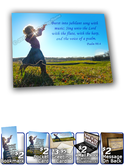 SG-8x10-PP27, Large 10x12 Plaque with Custom Bible Verse, personalized, child worship praise  dance music, Psalm 98:4
