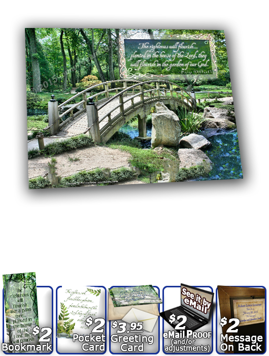 SG-8x10-SC08, Large 10x12 Plaque with Custom Bible Verse, personalized, garden bridge, Psalm 92:12a-13