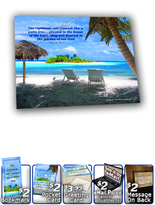 SG-8x10-WA06, Large 10x12 Plaque with Custom Bible Verse, personalized,  ocean beach vacation palm trees sand, Psalm 92:12a, 13