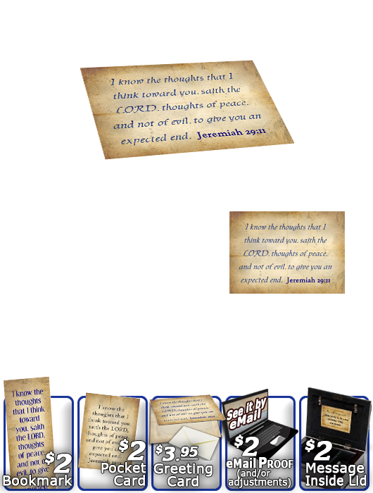 SG-MB-SM03, Custom Bible Verse on a Music Box, Bible Verse, personalized, simple parchment, Jeremiah 29:11