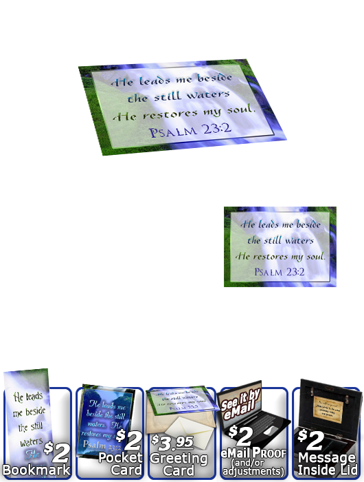SG-MB-WA02, Custom Bible Verse on a Music Box, Bible Verse, personalized, still waters waterfall, Psalm 23:2