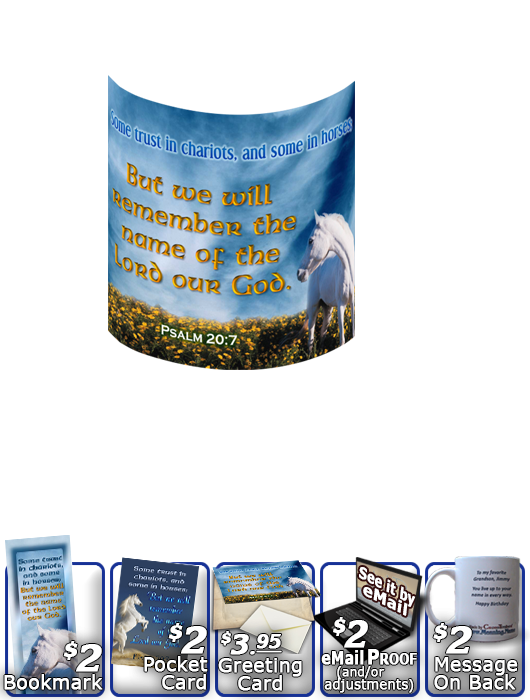 SG-MU-AN26, Coffee Mug with Custom Bible Verse  white horse, Psalm 20:7, Job 39:19
