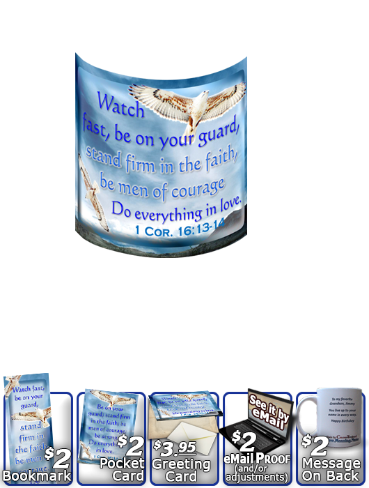 SG-MU-AN52, Coffee Mug with Custom Bible Verse  white hawk  bird, 1 Corinthians 16:13-14