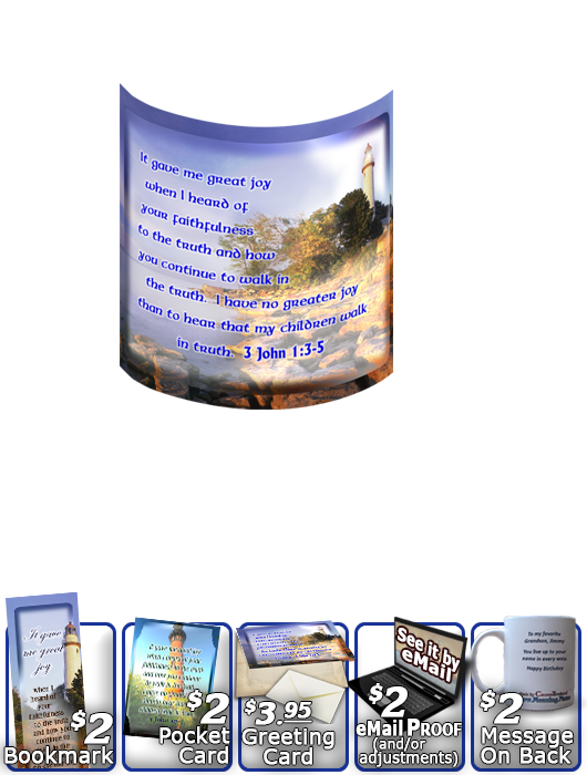 SG-MU-LH38, Coffee Mug with Custom Bible Verse, personalized, lighthouse light, 3 John 1:3-5