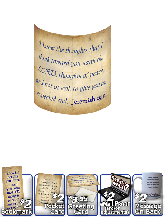 SG-MU-SM03, Coffee Mug with Custom Bible Verse, personalized, simple parchment, Jeremiah 29:11
