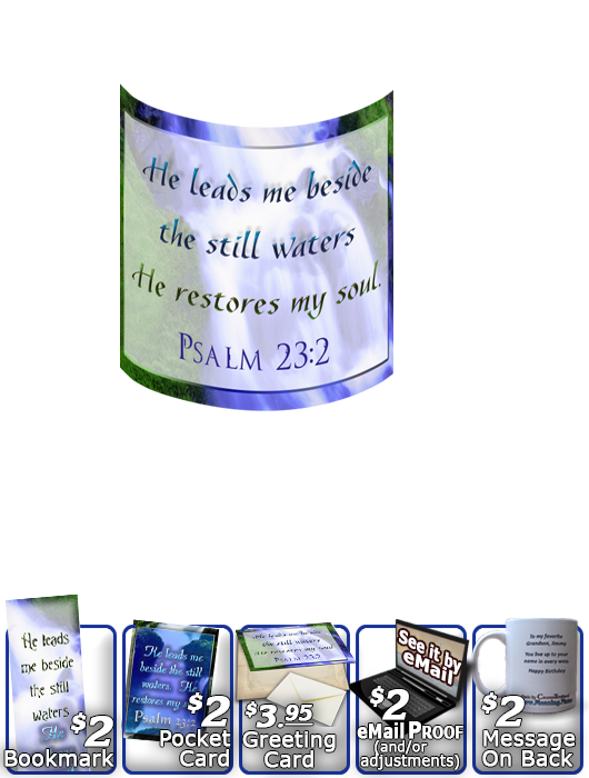 SG-MU-WA02, Coffee Mug with Custom Bible Verse, personalized, still waters waterfall, Psalm 23:2