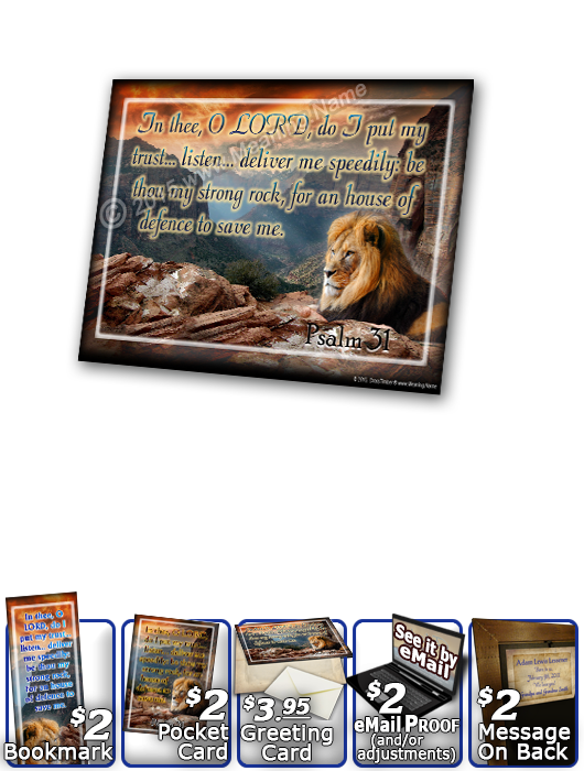 SG-PL-AN09, Custom Scripture Plaque,  Framed, Bible Verse, aria, lion, canyon, bravery, courage, Psalm 31:23