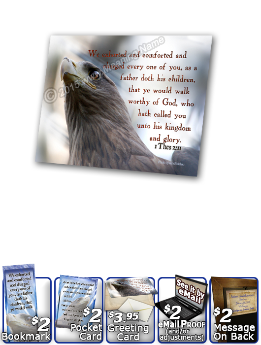 SG-PL-AN47, Custom Scripture Plaque,  Framed, Bible Verse eagle hawk bird, 1 Thessalonians 2:11