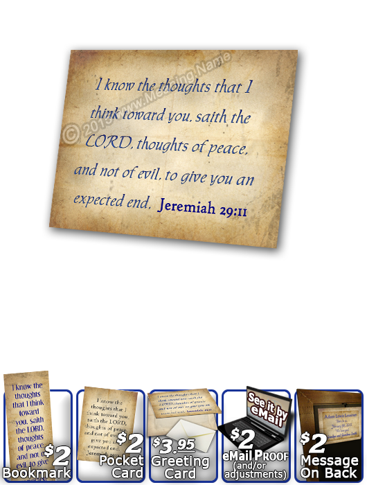 SG-PL-SM03, Custom Scripture Plaque,  Framed, Bible Verse, personalized, simple parchment, Jeremiah 29:11