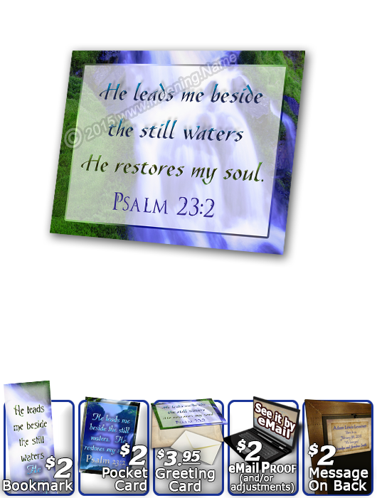 SG-PL-WA02, Custom Scripture Plaque,  Framed, Bible Verse, personalized, still waters waterfall, Psalm 23:2