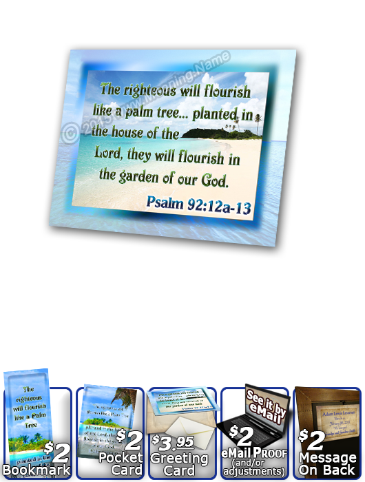 SG-PL-WA06, Custom Scripture Plaque,  Framed, Bible Verse, personalized,  ocean beach vacation palm trees sand, Psalm 92:12a, 13