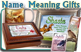name meaning gifts: coffee mugs, framed prints, bookmarks, pocket cards, music boxes