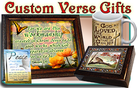 custom Bible verses, framed scripture art, music boxes and coffee mugs